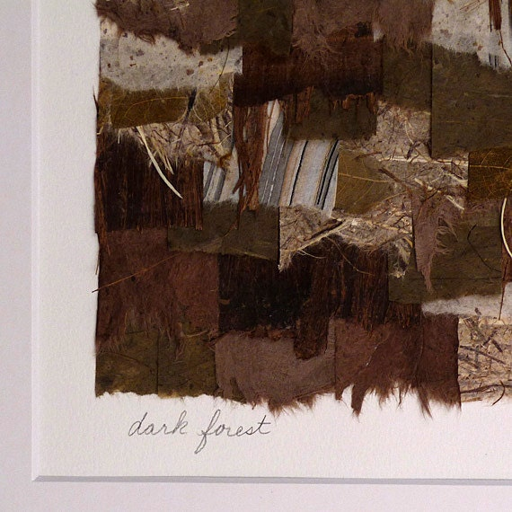 Collage Assemblage Artwork Accented With Brown Grey Black Gold Hand Painted Paper