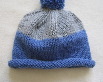 Blue and Grey Beanie for Baby Boy. Beanies for Newborn. Blue Beanie for baby. It's a Boy Beanie.
