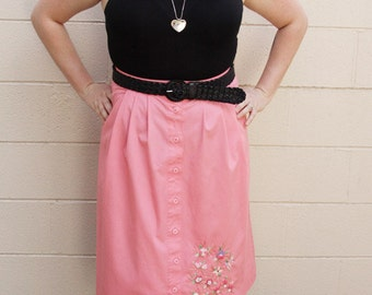 Pink A-Line Skirt with Floral Embroidery - Size 12 Large or XL