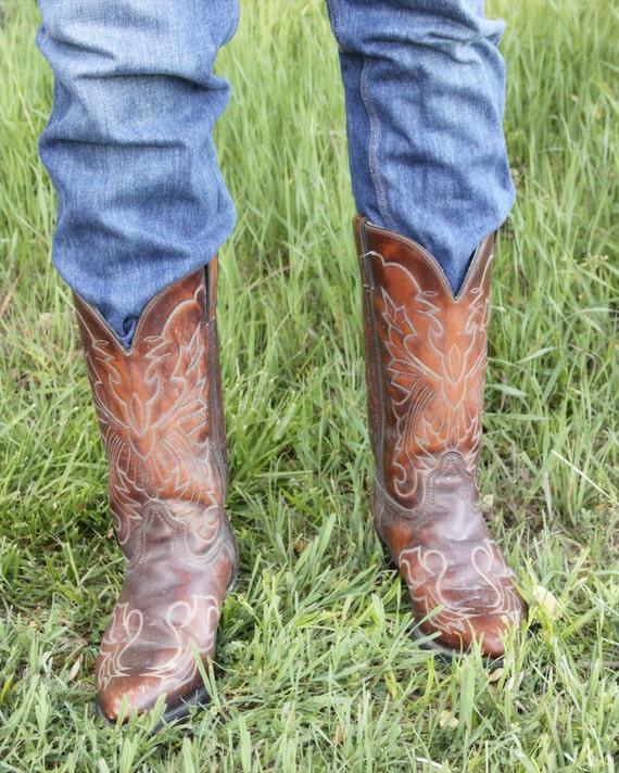 Vintage Men's Brown Cowboy Boots - Size 11