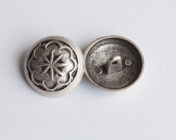 12 Vintage Round Silver Tone Metal Shank Button Collection with raised Star Motif  Item 0075