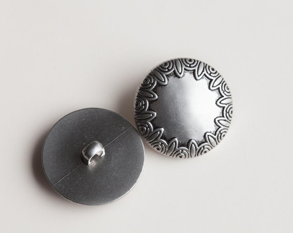 27 Round, Vintage Silver Tone, Plastic Shank Button Collection, with Raised Design on the Edges Item 0305