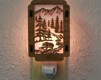 Bear Night Light with Pine Tree sides