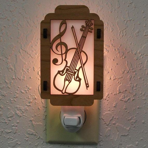 violin night light with music note sides. Black Bedroom Furniture Sets. Home Design Ideas