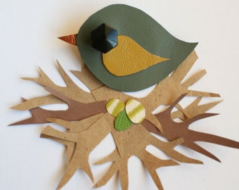 Leather Bird Brooch - Green Bird Brooch - Little Swift Bird Brooch - Cute Bird Brooch - Handmade Bird Brooch - Green and Mustard Bird
