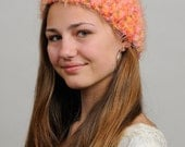 Womens Bright Orange and Pink Spring Color Crochet Hat