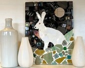 Moon Hare Decorative Mosaic Picture Panel, ready to hang