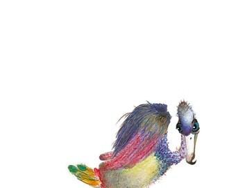 Vulture - Original Colour Pencil Drawing - 8 x 6 inch - Print