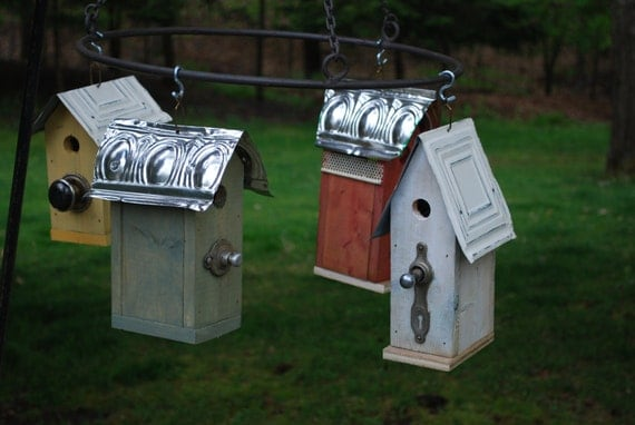 Re-purposed draw pull perch birdhouses