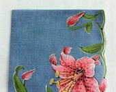 Large Blue Hanky with Pink Lilies Handkerchief