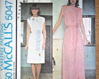 Misses Sleeveless Round Yoke Dress or Maxi Dress Vintage Sewing Pattern McCalls 5047 Size 10 - 12