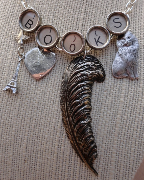 BOOKS Necklace Book Lover Writer Librarian Jewelry Typewriter Keys Eiffel Tower Cat Heart Sterling Charms