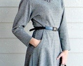 Fall Knit Fashion SALE 80s Sweater Dress. Black White Houndtooth Knit Dress. Dolman sleeve. Mad Men Fashion. Fit-and-fare skirt.
