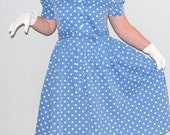 Cottage Chic SALE Vintage Summer Dress Blue White Polka Dot Fit and Flare Size Large White Lace Collar Overlay 80s does 1950s