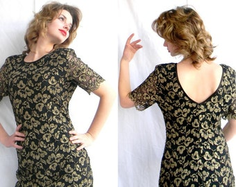 Vintage Party Dress. Cocktail Dress. New Years Eve. 80s  Lace Gold Black Sheath Dress. Open Back. Medium. Mad Men Dress Party dress.