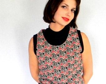 Vintage Knit Tank Vest Set. 60s 2 piece Set. Playing Cards Print Vest. Black Top. Mad Men Fashion Spring Summer