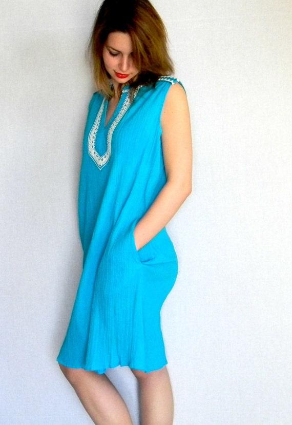 70s Tunic Dress. Shift Dress. Turquoise White Dress. Neon Fashion. Cotton Dress. Boho Dress Embroidered Dress. Summer Dress. Hippie Dress.
