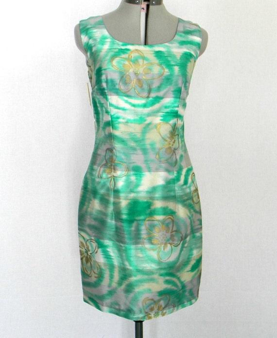 Vintage Sheath Shark Skin Green Gray Emerald Dress. Size Medium. Brand New. 60s Cocktail Dress Linen. Mad Men Fashion. Summer Spring