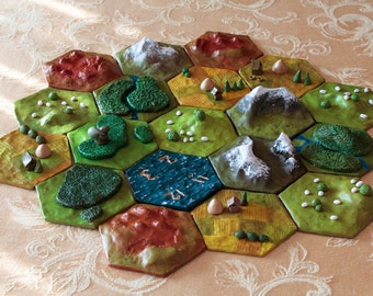 Custom 3D Settlers of Catan Game Board // The Land of Catan in Its Full, Awesome Glory // Durable Polymer Clay--Perfect for Gaming