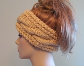 Knitted Cabled Headbands Earwarmers Chunky Ivory Cream Spring Accessories Headcovers Womens Girls Headwraps