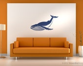 Giant Blue Whale Removable Vinyl Wall Art Decoration, childrens wall art nautical wall sticker whale sticker big blue whale kids room baby