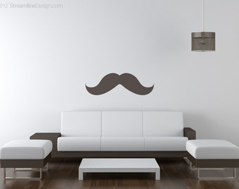 It's Not The Size Of Your 'Stache That Matters Removable Wall Art, mustache decal giant mustache, living room wall art mustache sticker