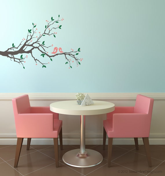 Beautiful Birds on a Branch Removable Vinyl Wall Art Decoration birds on branch baby room nursery wall art love birds branch wall decal