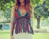 Rainbow Peace Festival Top With Fringe,   Ombre Crochet Crop Top, Fringe Tank, Hippie, Bohemian, Summer, Bikini, Vintage Style Crochet