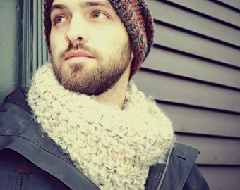Mens Cowl,Mens circle Scarf,Mens Winter Accessories, Mens Scarves, Mens Infinity Scarf,Gifts for Dad,Gifts for Him, Gifts for Boyfriend