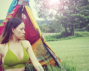 Handmade  Olive Green Crochet Halter Top, 100% Cotton Bikini Top, Hippie Top, Crop Top, Festival Top,
