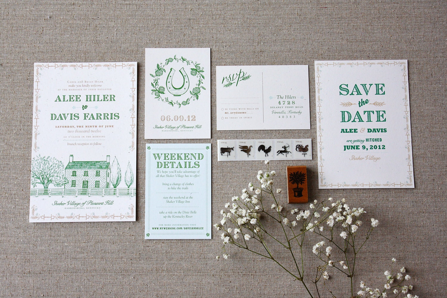 Custom Wedding Invitation Design Farm Wedding By TennHensDesign