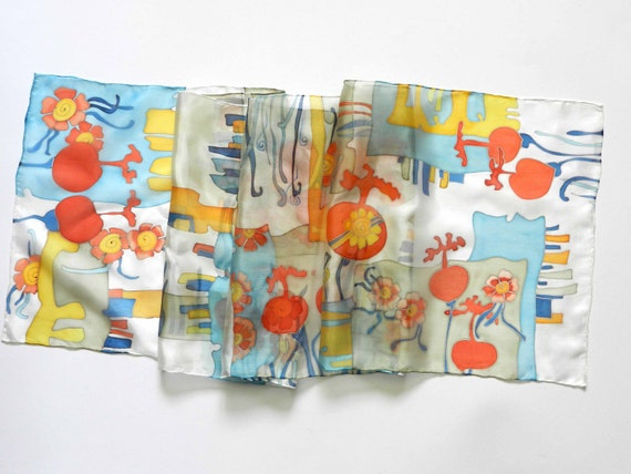 Hand painted pomegranate silk scarf - Light blue, orange, yellow colors. Made to order.