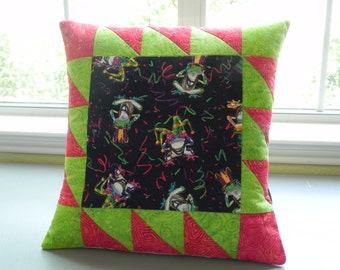 Mardi Gras Frogs Pillow Cover