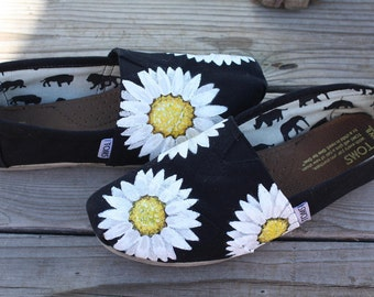 Daisy Hand Painted TOMS Shoes
