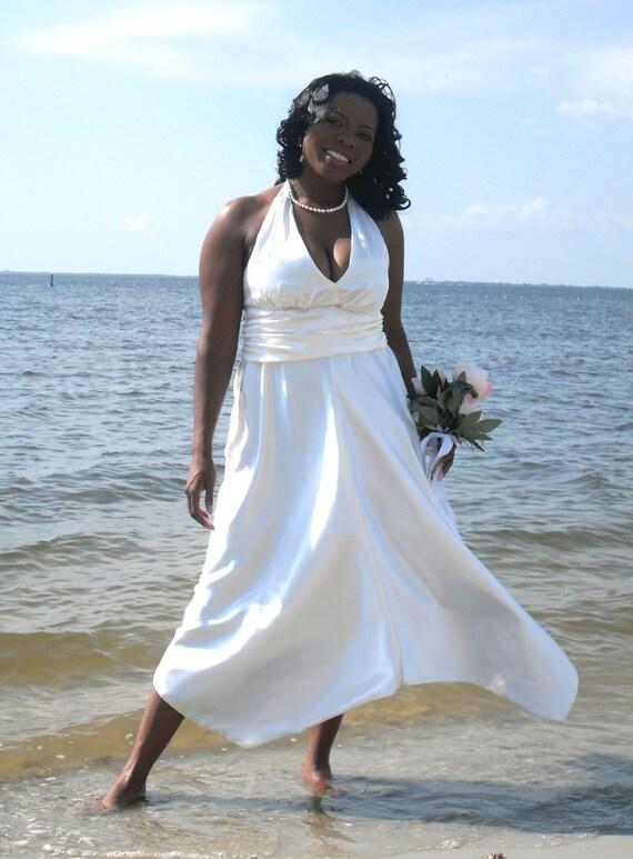 Charmeuse satin halter with handkerchief skirt beach wedding dress