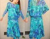 Beautiful Turquoise Floral Dress // Drop Waist Blue Dress Green Flowy Dress with Rhinestones // Long Sleeve Dress Teal Mid Length Dress
