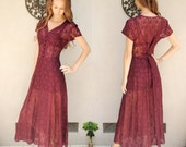 SALE Lovely maroon long lace dress with lace up back S/M