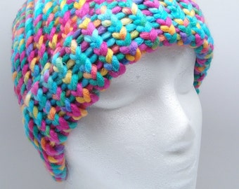 Adult Size Loom Knit Hat with Brim