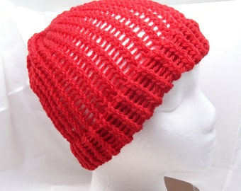 Bright Red Adult Size Loom Knit Wool Hat with Brim