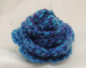 Dark Blue and Purple Crocheted Rosette with Pin Back