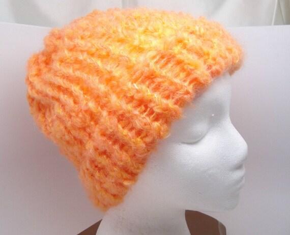 Fuzzy Orange Adult Size Loom Knit Hat with Brim