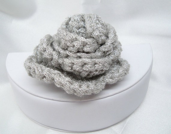 Crocheted Silver Rosette with Pin Back