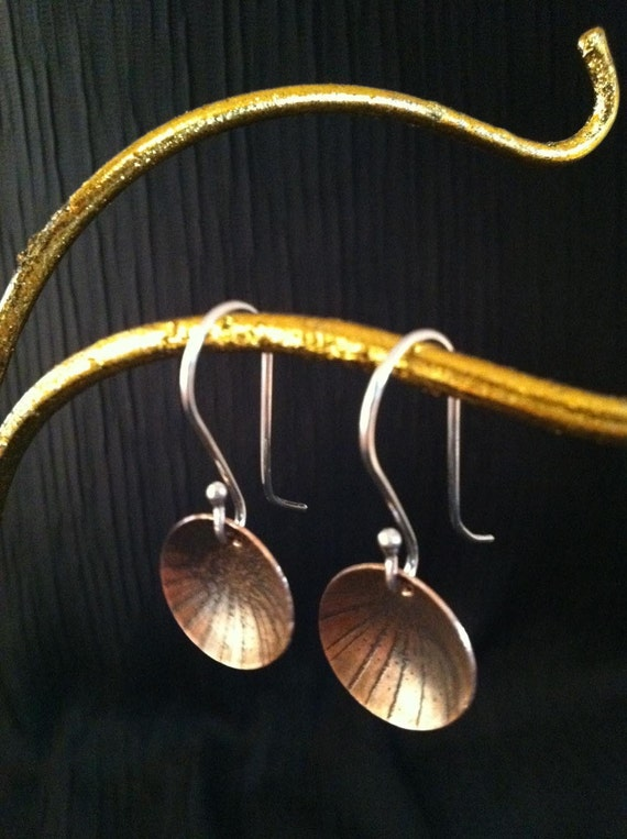 Copper domed disc earrings, dangle from sterling silver ear wires, with texture and patina by SuSu Studio