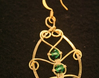 Brass Filigree Hoops with 3 Green Swarovski Crystal Beads