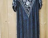 RESERVED for Ploy Vintage Beaded Sequined Party Dress 30s Large
