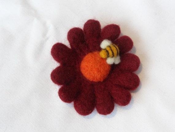 Needle felted flower brooch, bee brooch, needle felted flower and bee,  Red flower, orange bee, yellow felt flower