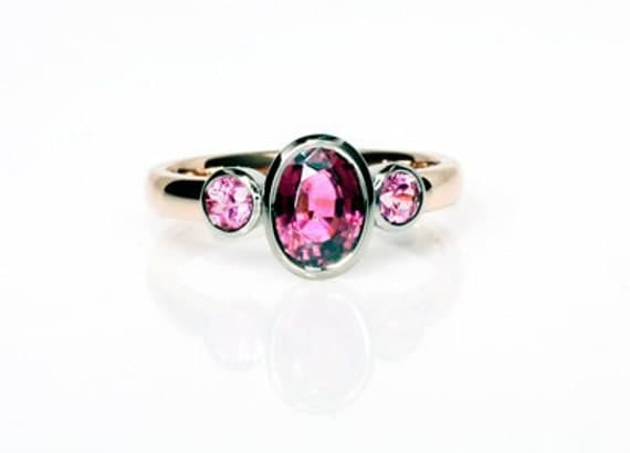 Rose gold, Engagement ring, Sapphire ring, Pink Tourmaline, Pink Sapphire, Pink engagement, Vintage style, Trinity, Gold engagement