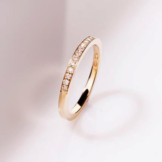 Thin Diamond Wedding Band Rose Gold Yellow White