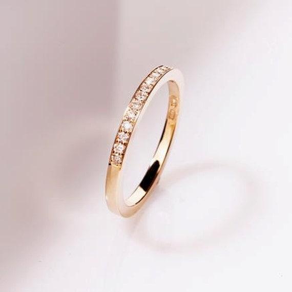 Thin diamond wedding band rose gold yellow gold white gold
