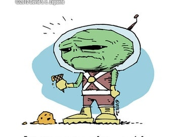 Melancholy Greetings - Martian funny greeting card (blank inside)